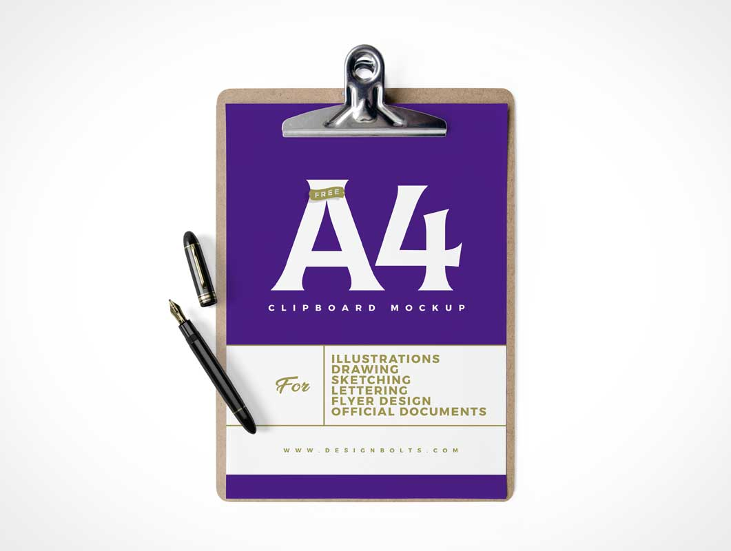 A4 Paper Clipboard & Stylus Pen PSD Mockup