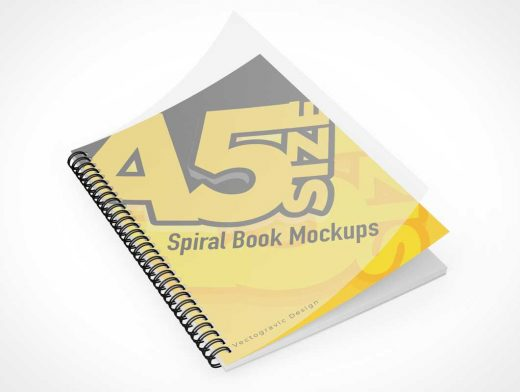 A5 Spiral Ring Book & Cover PSD Mockup