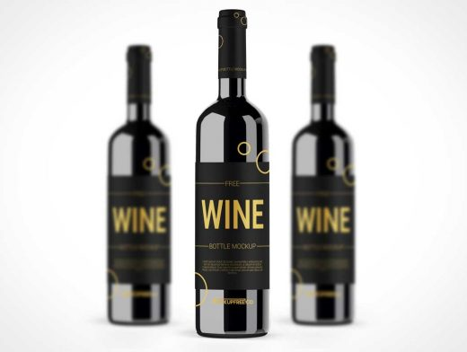 Dark Wine Glass Bottle PSD Mockup