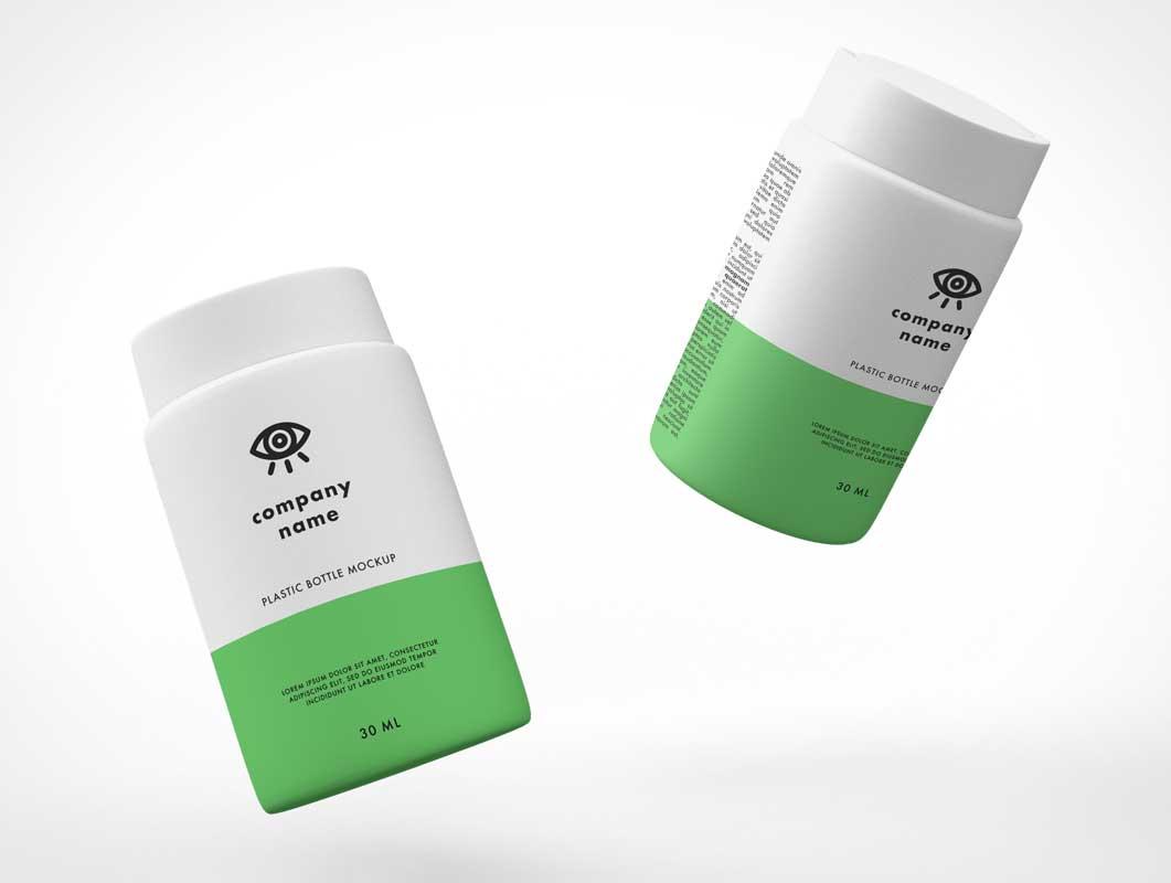 Floating Medicine Pill Bottles PSD Mockup