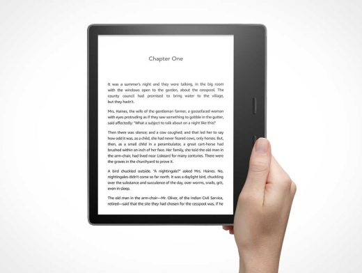 Kindle Oasis eBook Reader PSD Mockup
