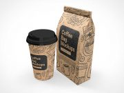 Paper Cup & Ground Coffee Beans Bag PSD Mockup