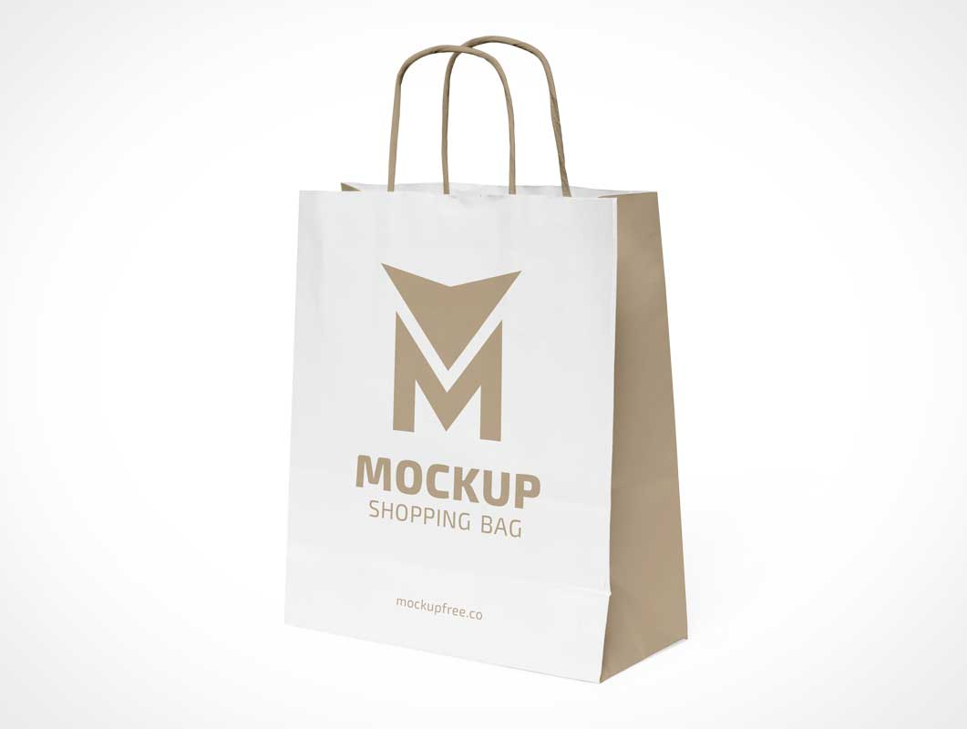 Paper Shopping Bag & String Handles PSD Mockup
