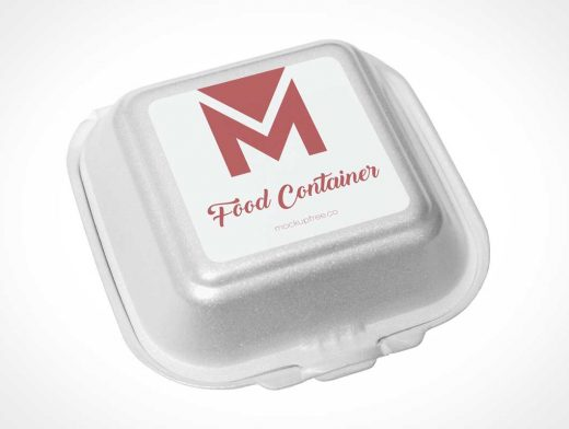 Polystyrene Food Container Packaging PSD Mockup
