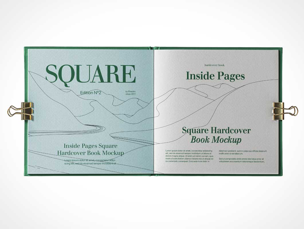 Square Hardcover Catalog Book PSD Mockup