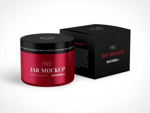 Wide Mouth Cosmetic Jar & Box Packaging PSD Mockup