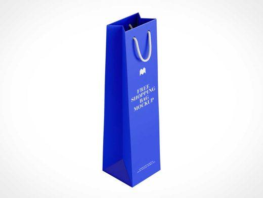 Wine Bottle Paper Bag & Handles PSD Mockup