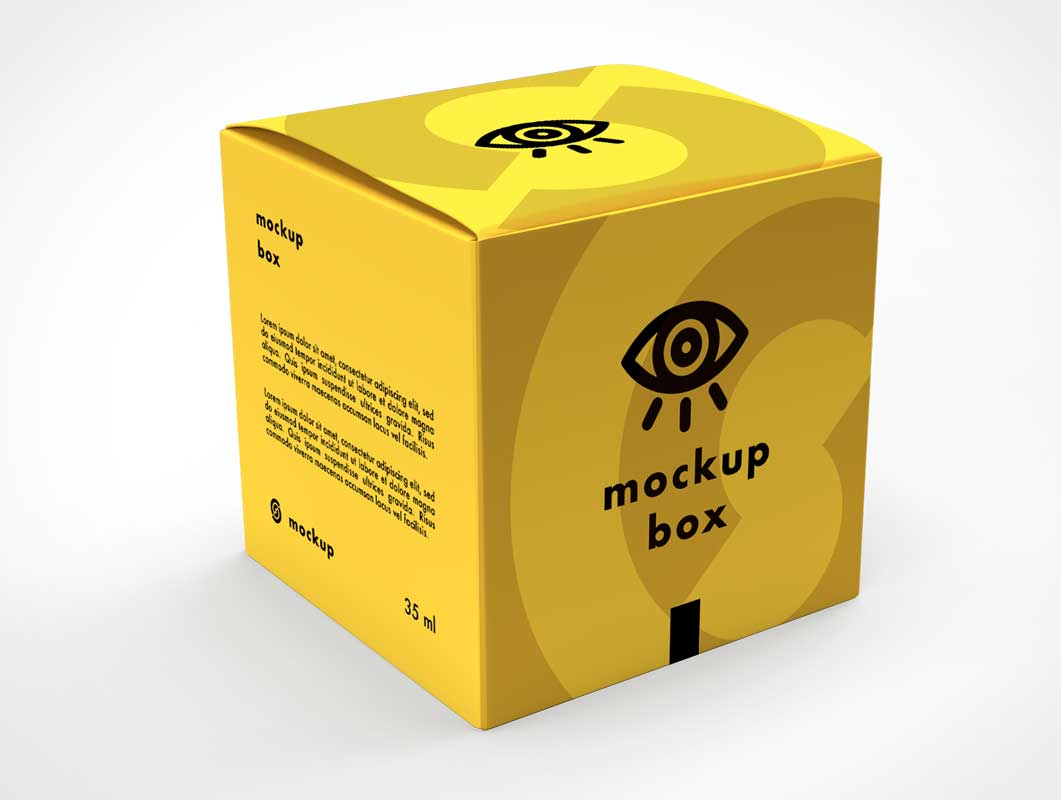 Yellow Square Gift Box PSD Mockup