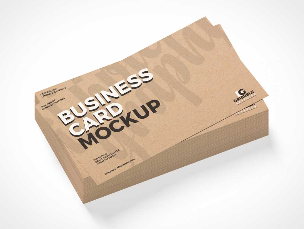 Branded Business Card Stack PSD Mockup