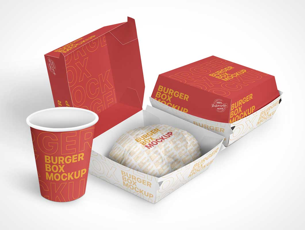 Burger Takeout Food Kraft Packaging PSD Mockup