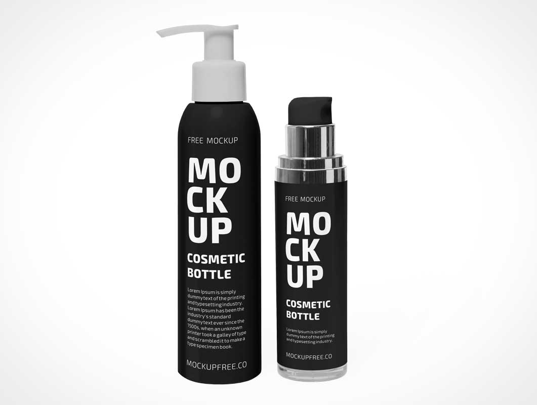 Cosmetic Product Bottles PSD Mockup