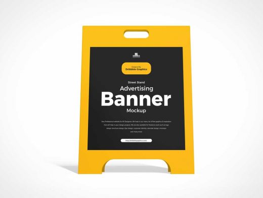 Display Stand Storefront Signboard PSD Mockup