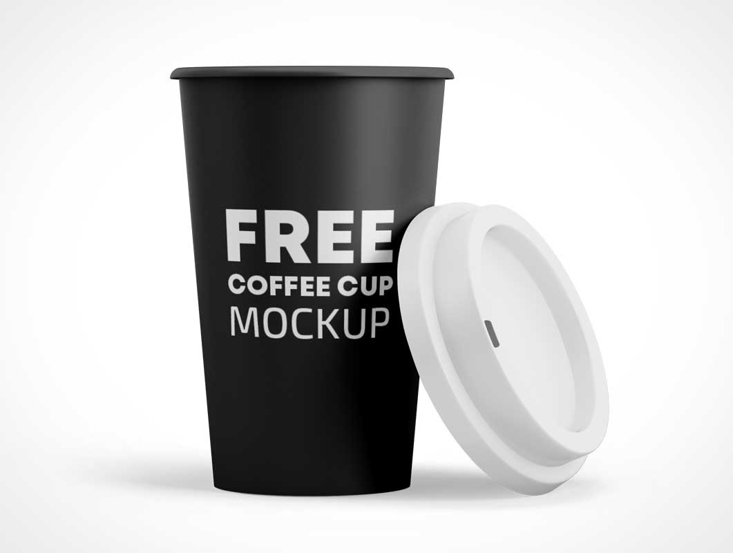 Dixie Paper Coffee Cup & Sip-Through Lid PSD Mockup