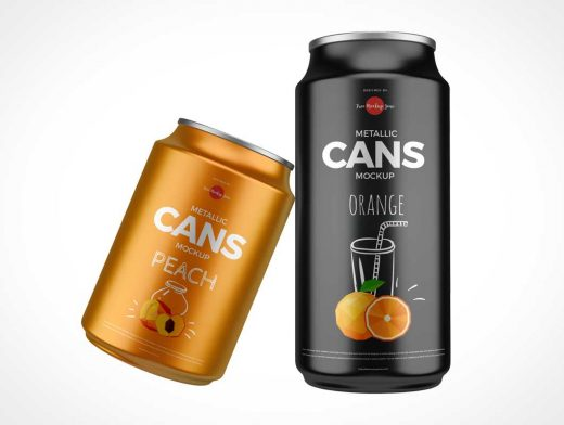Glossy Metallic Soda Cans PSD Mockups