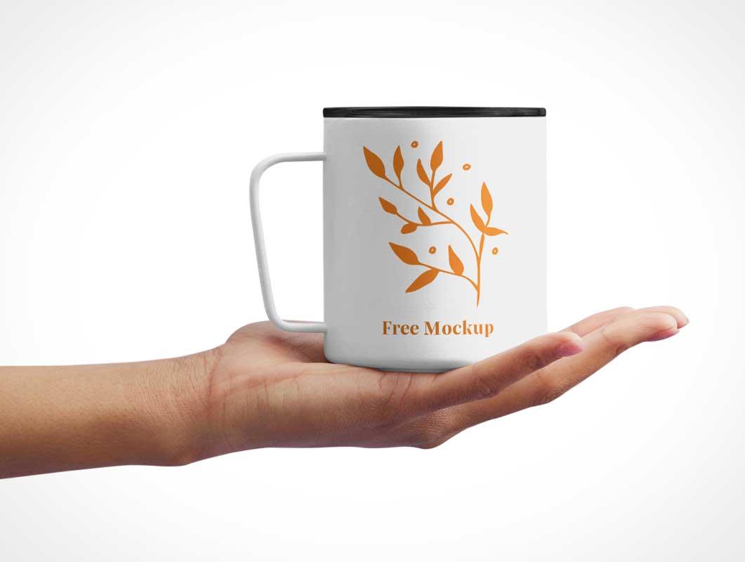 Hand Held Plastic Coffee Cup PSD Mockup