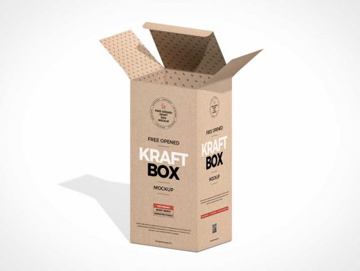 Kraft Box Packaging PSD Mockup