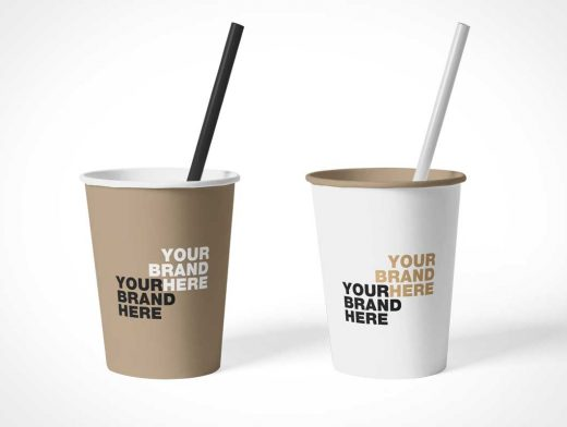 Rolled Rim Paper Cups & Straw PSD Mockups