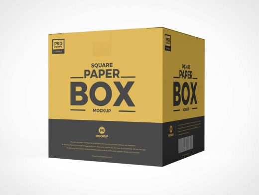 Sealed Cardboard Box Packaging PSD Mockup