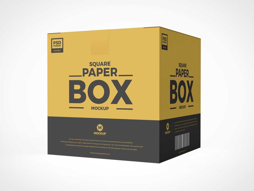 Sealed Cardboard Box Packaging PSD Mockup