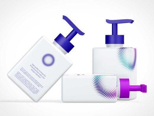 250ml Square Cosmetic Bottle & Pump NozzlePSD Mockup