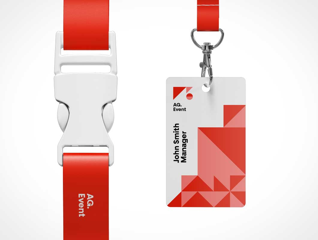 Branded Event Show ID & Lanyard PSD Mockup