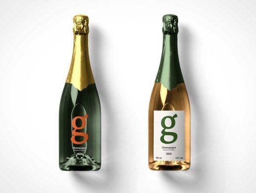 Champagne Glass Bottles PSD Mockup