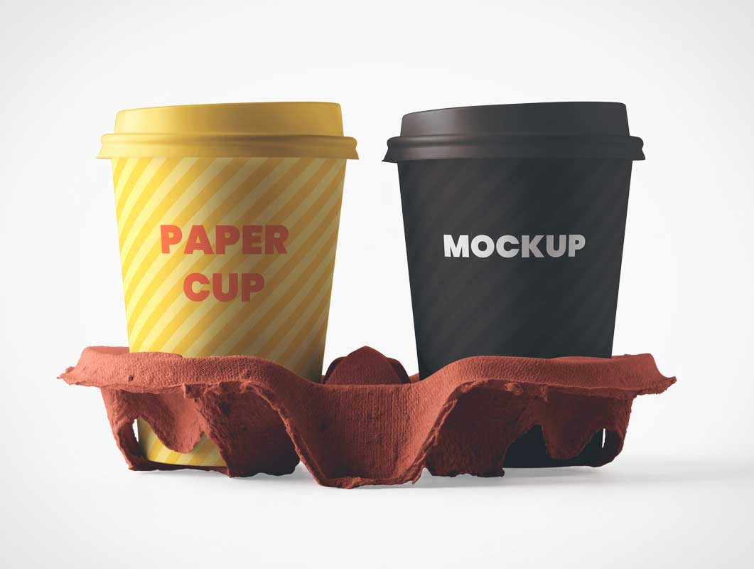 Coffee Cups & Carry Tray PSD Mockup