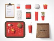 Fast Food Packaging, Bag, Tray & Clipboard PSD Mockup