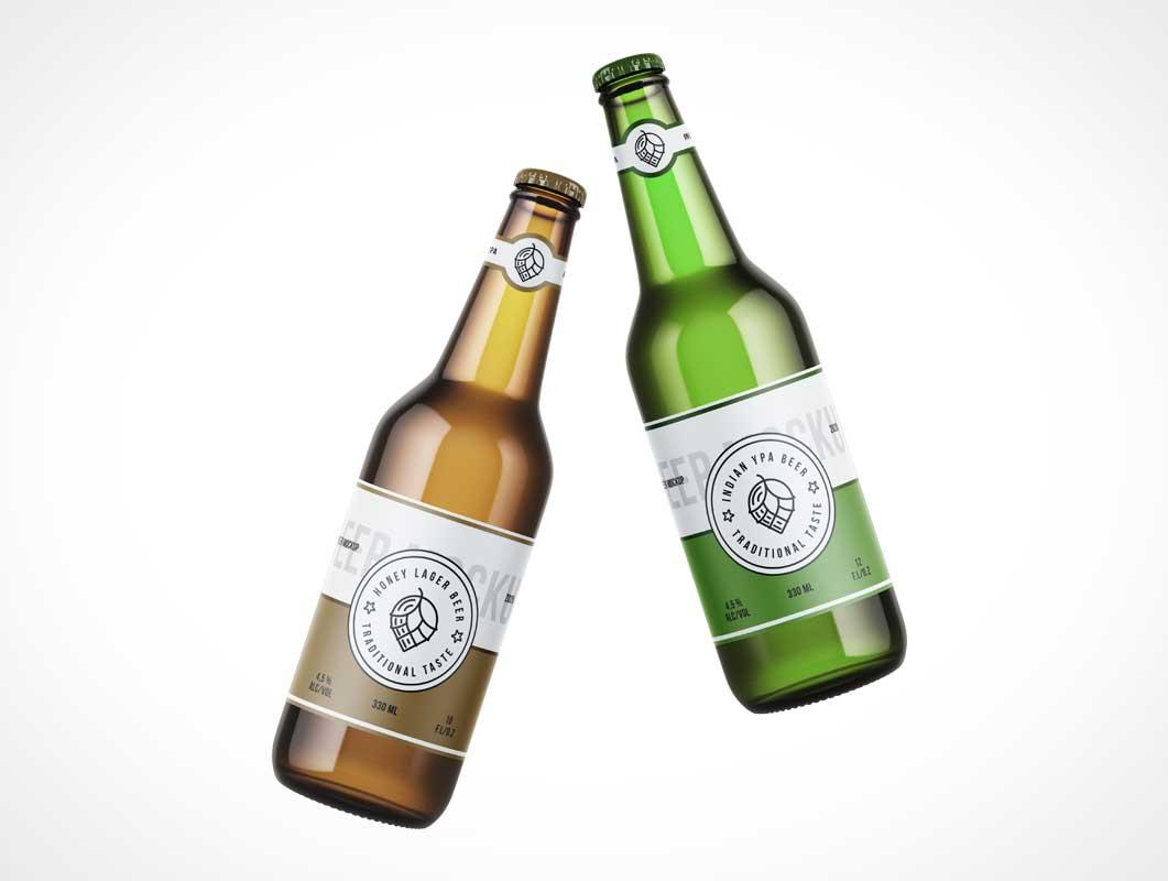 Long Neck Beer Bottle PSD Mockup