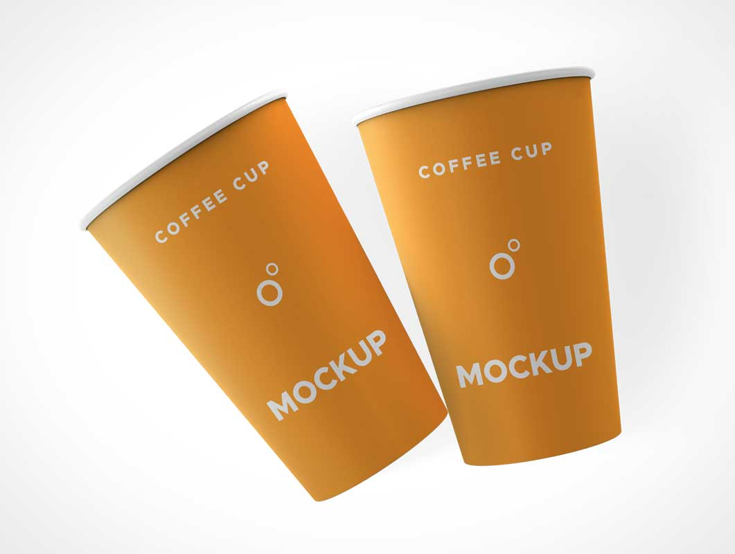 Rolled Rim Paper Coffee Cup PSD Mockup