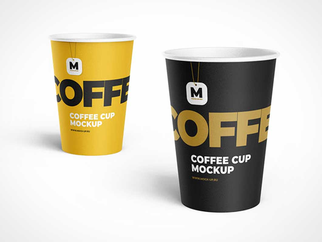 Rolled Rim Tea Hot Cups PSD Mockup