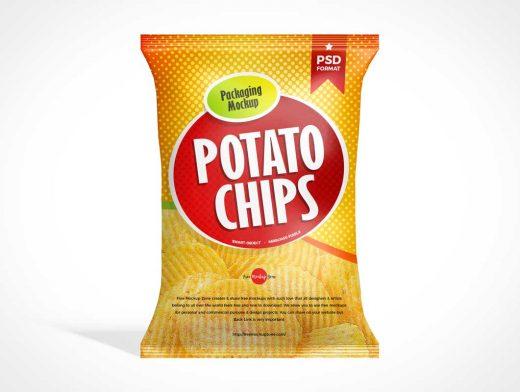 Single Serving Snack Chip Bag PSD Mockup