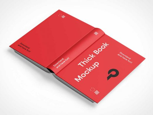 Thick Hardcover Book Face Down PSD Mockup