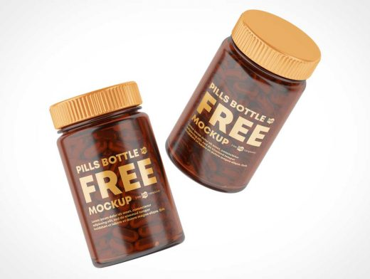 Vitamin Pill Amber Glass Bottle PSD Mockup