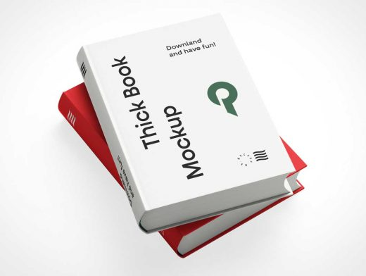 2 Stacked Hardcover Books PSD Mockups