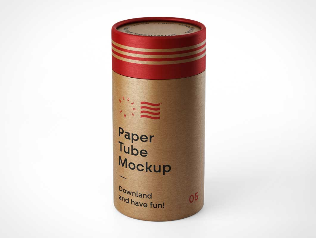 Branded Kraft Mailing Tube PSD Mockup