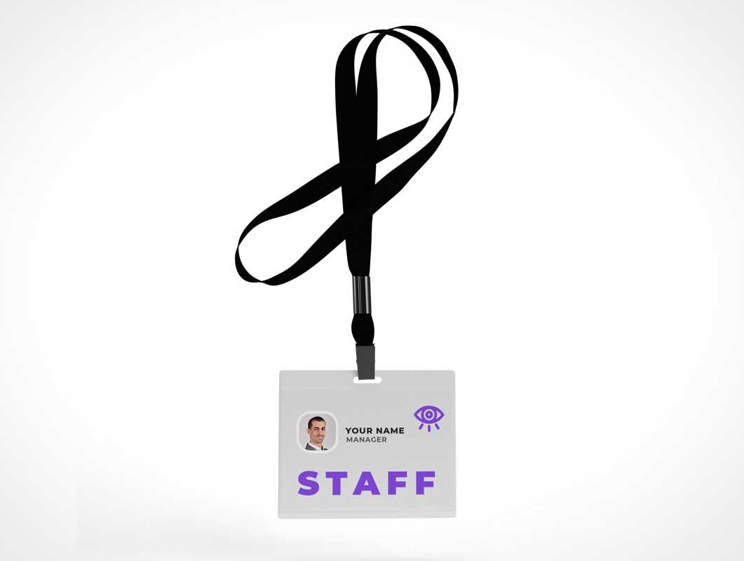 Corporate Swipe ID & Lanyard PSD Mockup