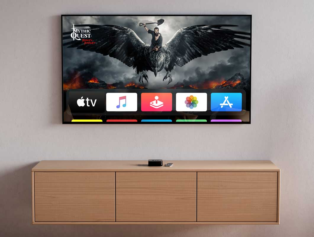 Flatscreen TV & Credenza PSD Mockup