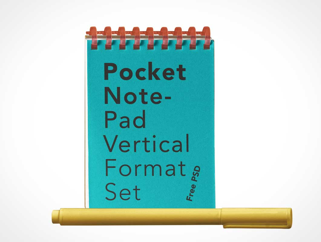 Pocket Notepad & Stylus Pen PSD Mockup