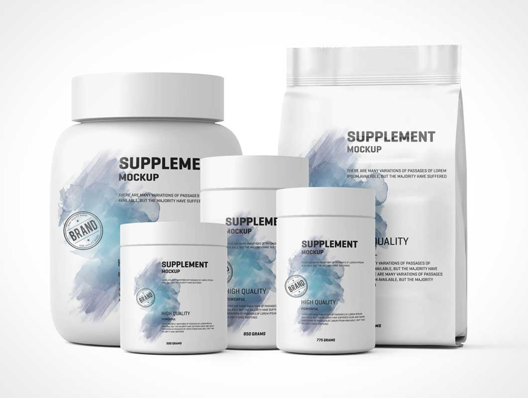 Protein Supplement Powder Containers PSD Mockup
