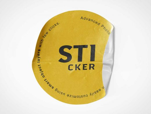 Round Branded Peel Sticker PSD Mockup