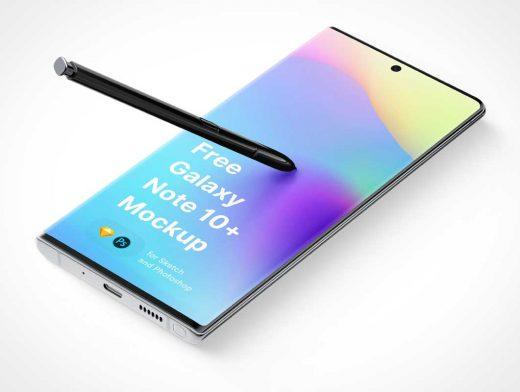 Samsung Galaxy Note 10 Plus & Stylus PSD Mockup