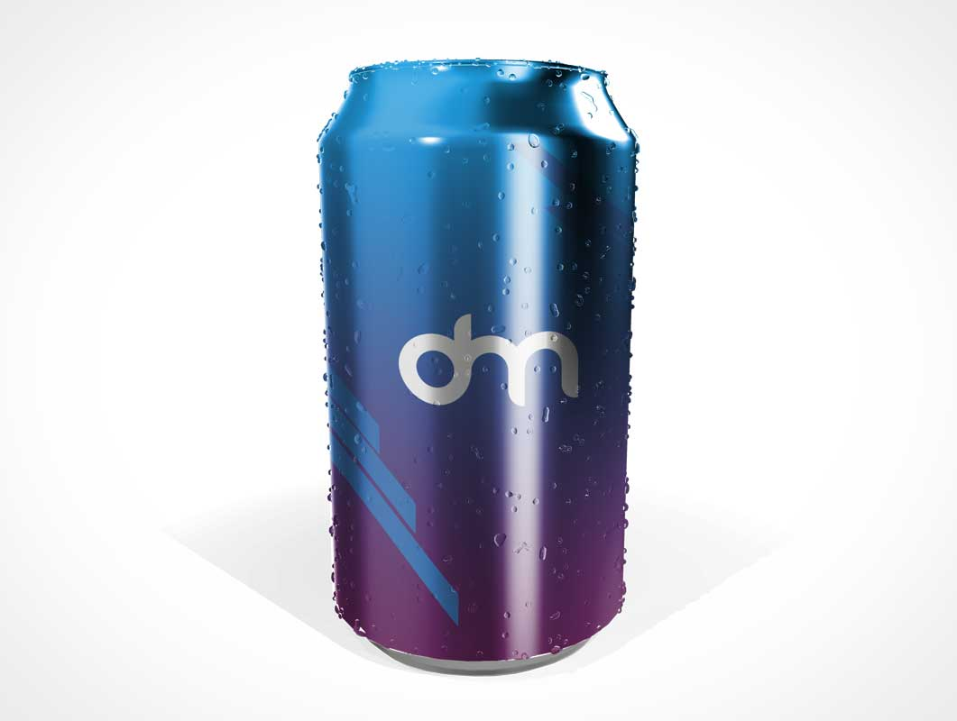 Soda Can & Condensation Beads PSD Mockup
