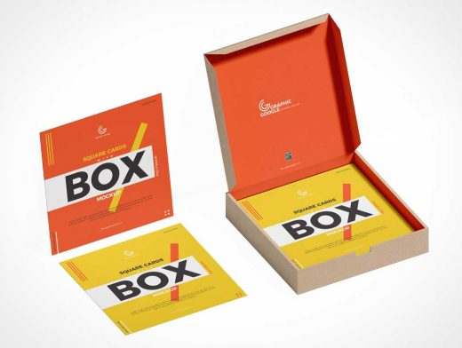 Square Business Cards & Box PSD Mockup