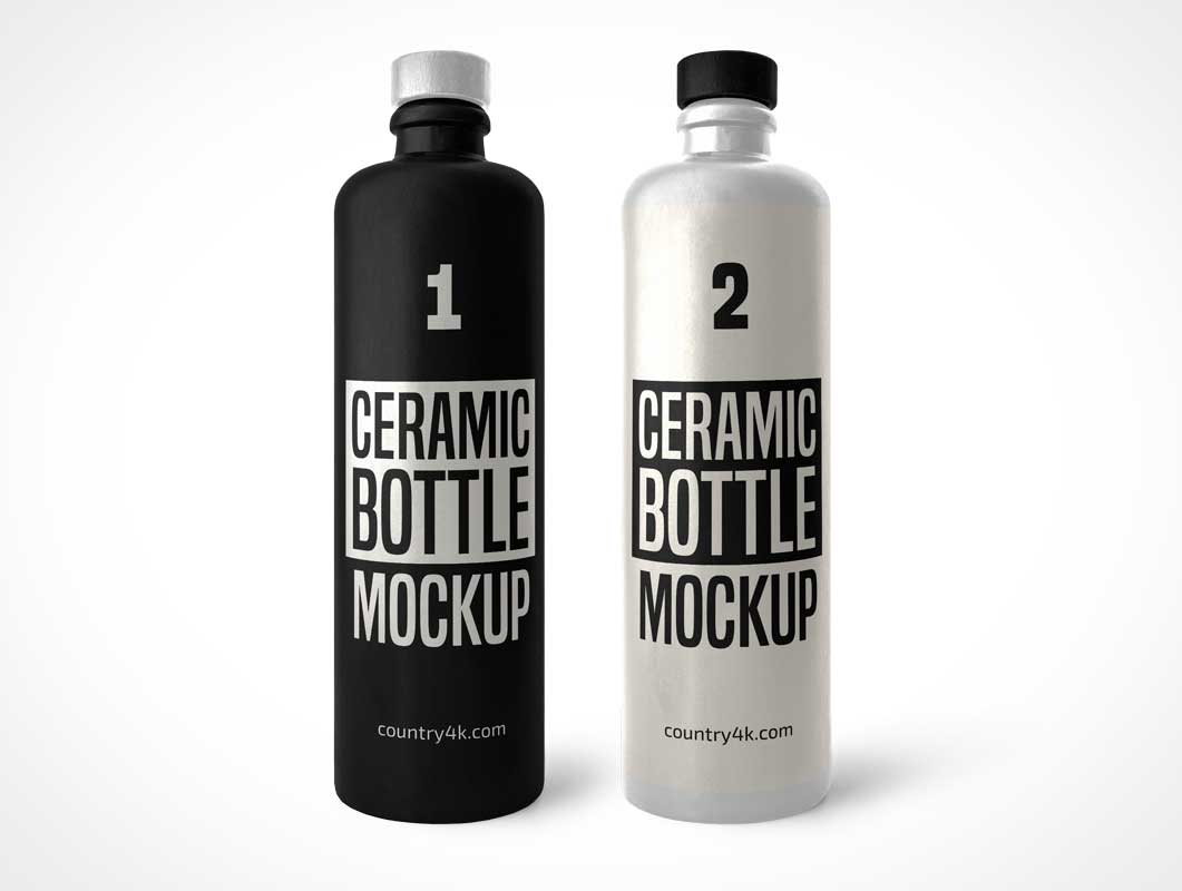 Straight Sided Ceramic Bottles PSD Mockup