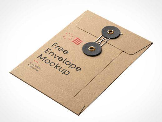 String & Button Manilla Envelope PSD Mockup