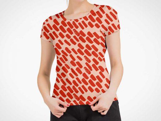 Womans Round Neck Collar T-Shirt PSD Mockup