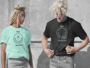 Couples Crew Neck T-Shirts PSD Mockup
