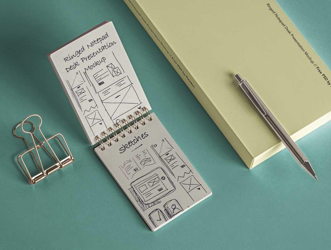 Ringed Notepad & Stylus PSD Mockups