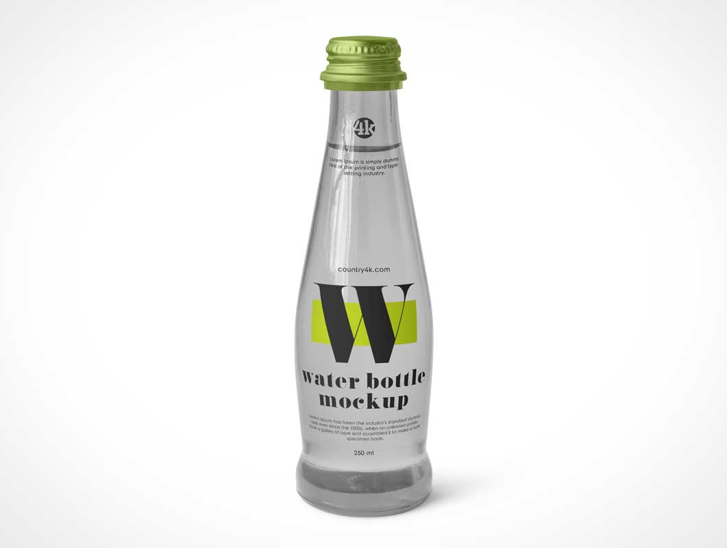 Sparkling Mineral Glass Water Bottle PSD Mockups
